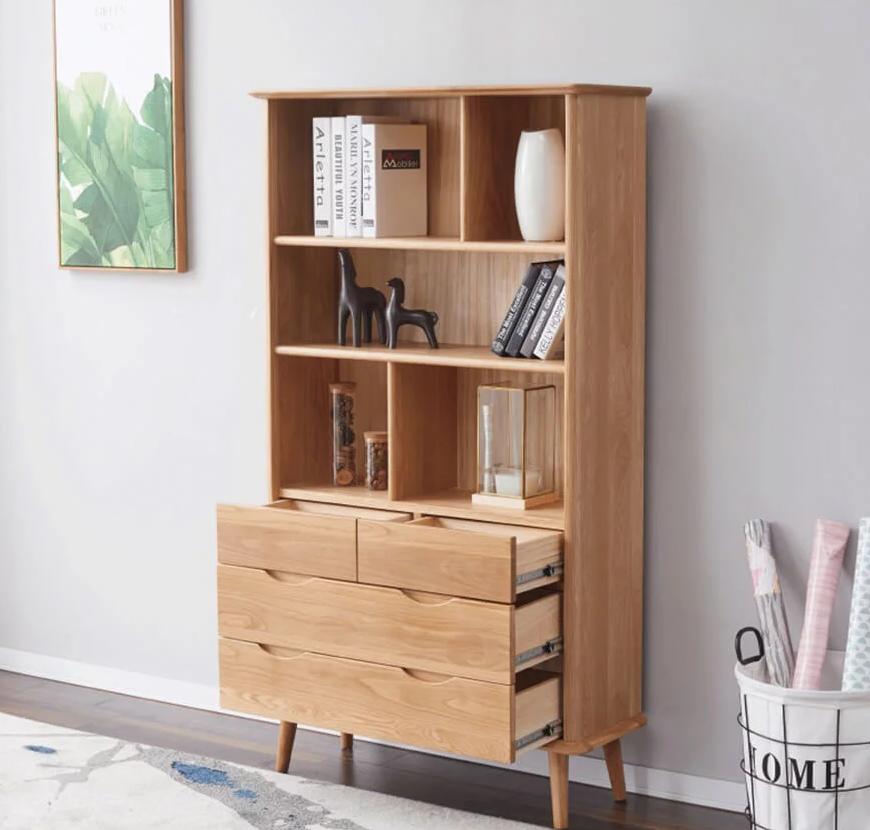 Giá sách gỗ sồi tự nhiên thiết kế đẹp hiện đại GSTN01